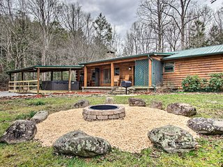 NEW! Creekside Cabin w/ Spa, Fire Pit & Game Room!