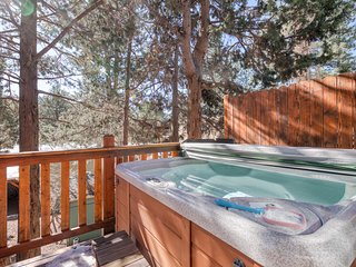 Cozy cabin with large deck & private hot tub, beautiful views, EV Charging