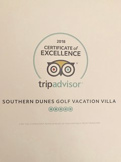 Southern Dunes Golf Villa has been Awarded the Certificate of Excellence 2017  and 2018