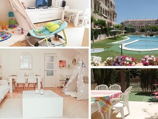 Baby-friendly: 3 BedR, Garden, air con, WIFI, pool, garage