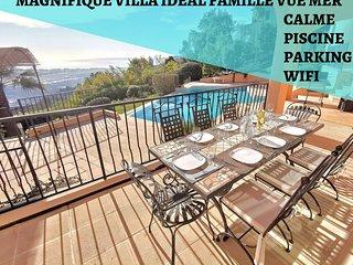 Magnifique Villa Ideal Famille Cannes-Mandelieu,Vue Mer,Calme,Park,Piscine,Wifi
