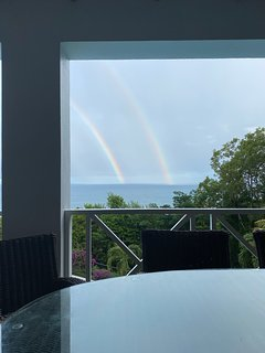 Double rainbows are not uncommon in the morning at La Toc Villa.