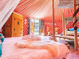 Eco Luxury Yurt Suite, Pool, Play Park, Inc Hybrid Car, next to Beach/Restaurant