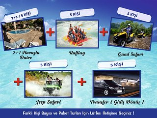5 PERSON HOLIDAY PACKAGE-5 PERSON ACCOMODATION-RAFTING-QUAD SAFARI-AIRPORT TRANS