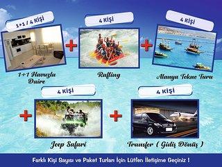 HOLIDAY PACKAGE 4 PERSON ACCOMODATION+RAFTING+JEEP SAFARI+ALANYA BOAT+TRANSFER