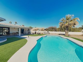 New Listing! Luxe Getaway w/ Private Pool, Patio & Mtn Views, Walk to Park