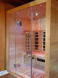 Stylish sauna in private heated lounge