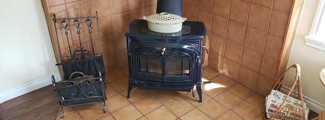 Wood stove in living room. (Main heat source)