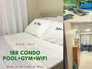New&Cozy 1BRCondoUnit+Pool+Gym+WIFI+nearBoniMRT