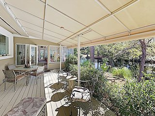 New Listing! Creekside Home w/ Sunroom & Alfresco Dining, Walk to Beach