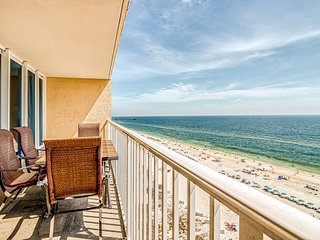 Gulf front condo w/ multiple community pools, a private balcony, & gym