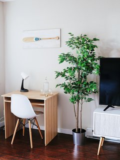 Desk space for working.