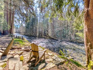 Riverfront home w/ wood-burning fireplace, cable, and views!