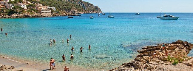 Nearest sand beach from the house Sant Telmo.  27 km.