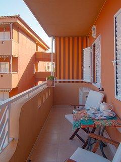 Los exteriores del balcón.