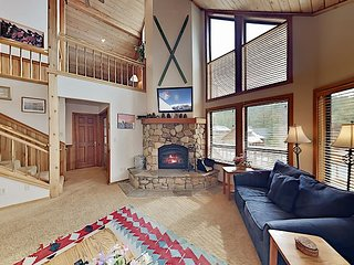 Wooded Getaway w/ 2 Living Areas, Spacious Deck & Complimentary Ski Shuttle