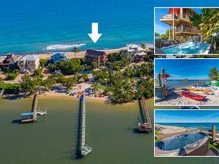 Art on the Beach:  8BR/5BA ocean-to-river art house, ON beach w/elev./pool/dock