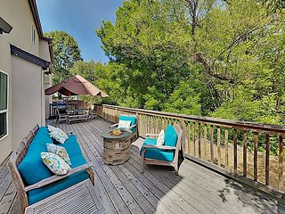 Elegant Creek-Side Home with Large Deck, Fenced Yard & Private Hot Tub