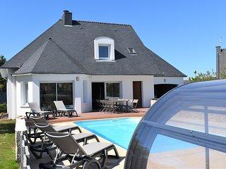 Villa 11 pers avec piscine couverte chauffée à 5 mn de la mer à Belz Morbihan