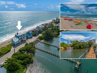 Eden Beach! 7BR/7BA Ocean-to-River Fla Beach House. ON THE BEACH! + Boat Dock