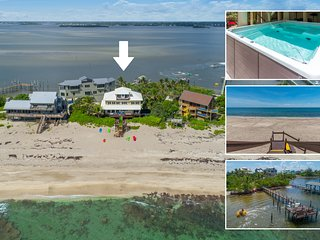 'Xanadu':8BR/6BA, Directly ON Beach! Ocean+River, Elevator, Dock, Pool, etc