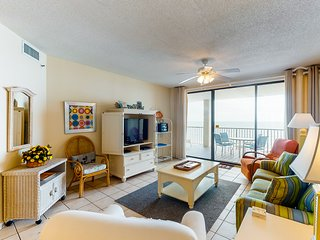 Central Gulf front condo w/ a spacious balcony, pools, poolside gazebo, hot tub