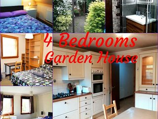 4 DOUBLE BEDROOM GARDEN HOUSE - Free optic fiber WI-FI
