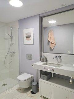 Baño completo, con plato de ducha grande y comodo