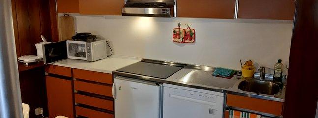 Piano di cottura a induzione semplice e sicuro con frigorifero e lavastoviglie