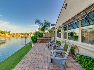 Waterfront Home with Private Hot Tub and Game Room! Ocotillo! Community Heated P