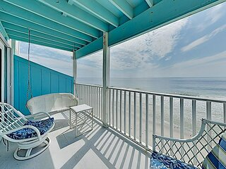 Stylish Oceanfront Condo w/ Balcony, Water Views & Pool – Steps to Beach!