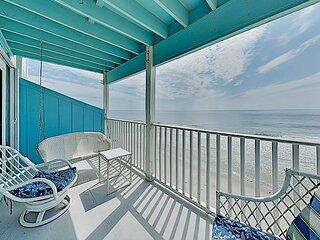 Stylish Oceanfront Condo w/ Balcony, Water Views & Pool – Steps to Beach!