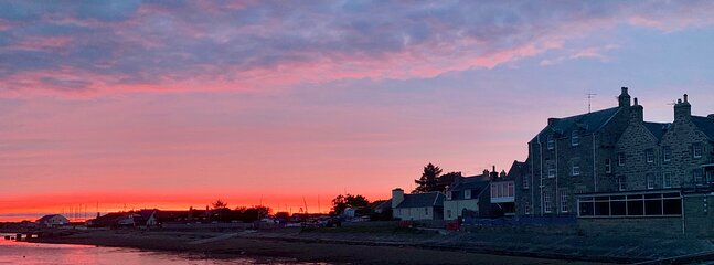 """250 year old """"Findhorn House"""" on the waters edge."""