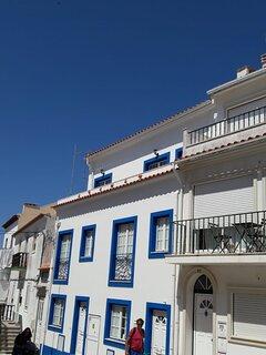 Façade de la maison blanche et bleue , appartement au 2ème étage