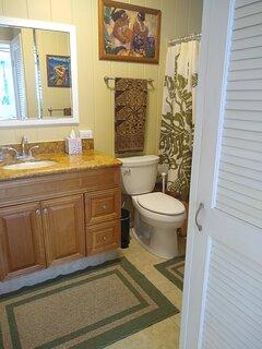 Separate linen closet in bathroom