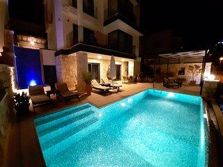 Kisla Falls, Beachfront villa  sleeps 10 private pool, infinity roof terrace
