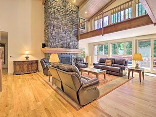 NEW! Luxe Cabin w/ Pool Access, Game Room & Deck!
