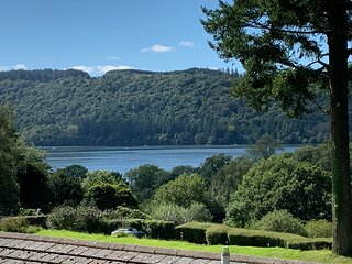 view of Lake Windermere from the bench outside the cottage