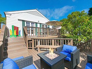 Ocean-View Village Getaway: Huge Fenced Yard with Deck, Firepit & Grill
