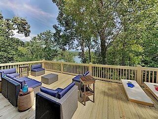 Updated Grand Lakefront Retreat - Dock, Mountain-View Deck, Dual Living Areas