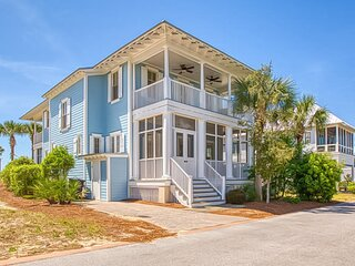 New listing! Gulf view home w/ 4 porches, beach access & shared infinity pool!