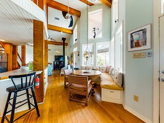 Dog-friendly beachfront home w/ private deck, wood-burning fireplace, free WiFi!