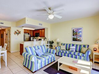 Gulf front, family-friendly getaway on the sand w/ shared pools, hot tub, & gym