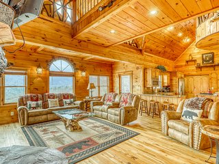 Dog-friendly, luxury cabin w/ a private hot tub & multiple outdoor seating areas