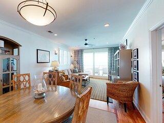Third-floor condo w/ beach and ocean views, private front porch entrance, & deck