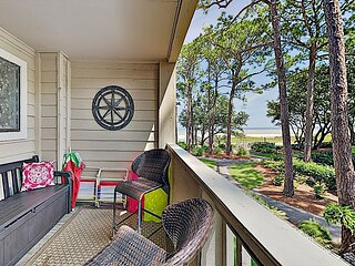 Fully Renovated Condo with Water-View Balcony, Pools & Tennis - Walk to Beach