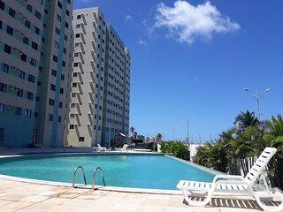 Apt Beira-Mar, com piscina, 2 quartos, ar e wi-fi!