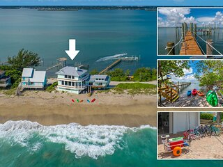 Eden Beach! 7BR/7BA Ocean-to-River Fla Beach House. ON THE BEACH! + Boat Dock