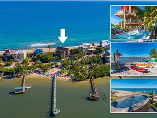 Art on the Beach:  8BR/5BA ocean-to-river art house, ON beach w/elev./pool/dock