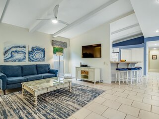 Dog-friendly house w/ private, heated pool & entertainment - walk to the beach!